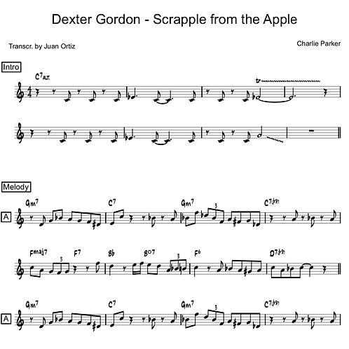 Dexter Gordon (Transcription) - Scrapple from the Apple
