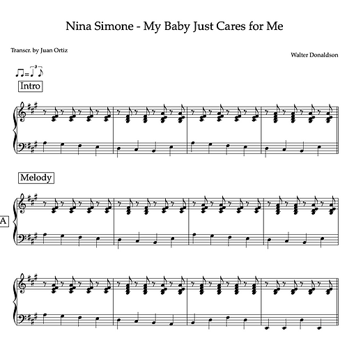 Nina Simone (Transcription) - My Baby Just Cares for Me