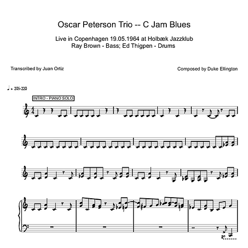 Oscar Peterson (Transcription) - C Jam Blues