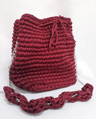 Bolsa de Crochê Fio de Malha Bordô - Modelo Mahalo