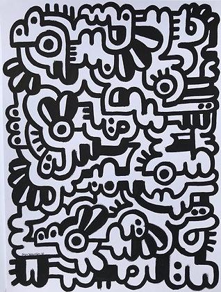 Large Doodle Black lines