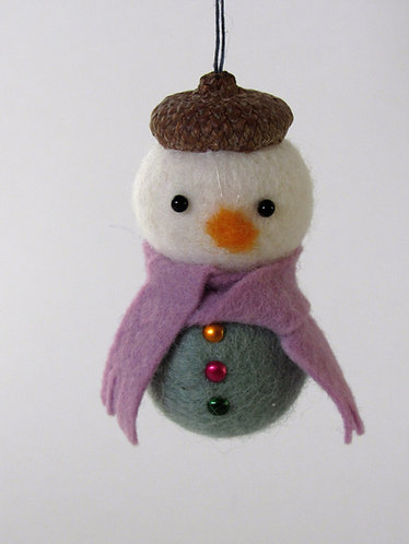 Felt acorn hat snowman with blue scarf / Christmas tree ornament
