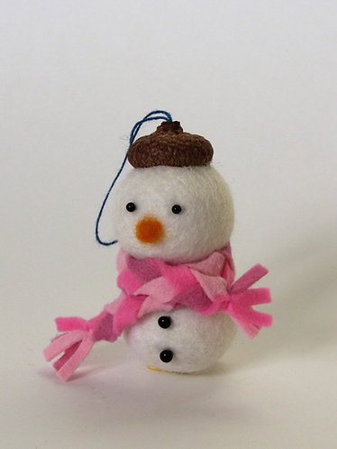 Acorn hat felt snowman with pink scarf Christmas ornament