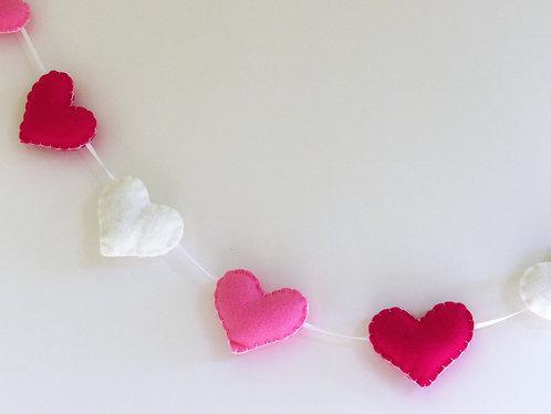 Valentine's day felt heart garland in pink, dart pink and white