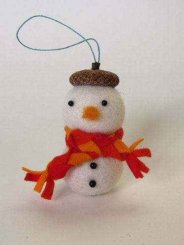 Acorn hat felt snowman with red scarf / handmade wool Christmas ornament