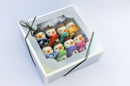 Set of 8 handmade wool felt acorn hat snowmen