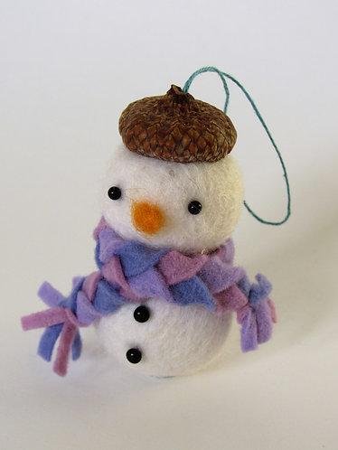 Acorn hat wool felt snowman with purple scarf / handmade wool ornament