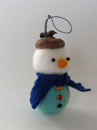 Wool felt acorn hat snowman with navy scarf Christmas tree ornament