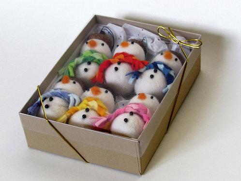 Set of 6 handmade wool felt acorn hat snowmen