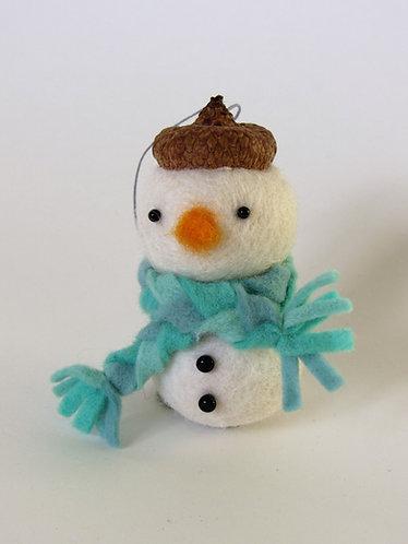 Handmad acorn hat wool felt snowman with turquise scarf Christmas ornament