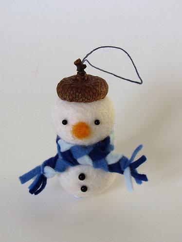 Acorn hat wool felt snowman with green scarf / Christmas tree ornament