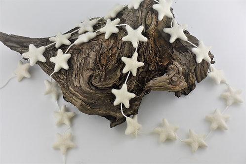 White wool star garland