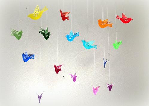 Set of 16 rainbow paper flying / hanging birds