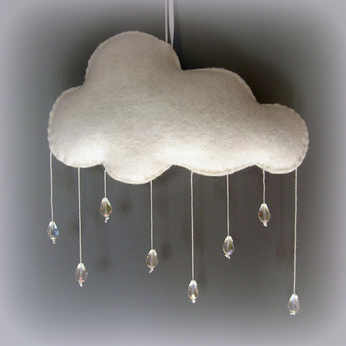 Rain Cloud Mobile with glass beads 7x7