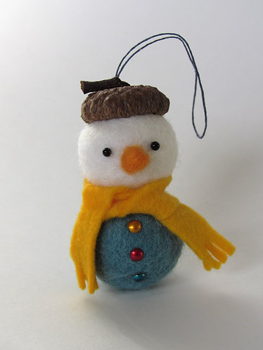 Wool felt and acorn hat snowman with yellow scarf ornament