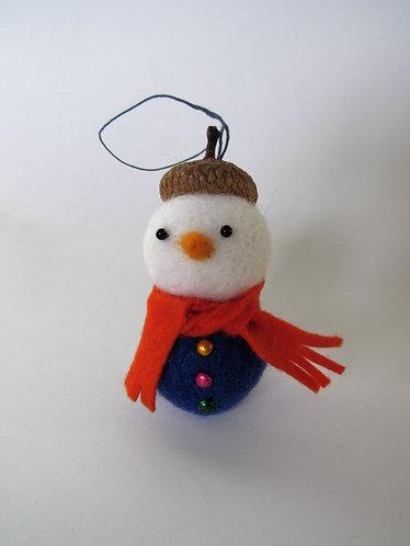 Wool felt acorn hat snowman with red scarf ornament