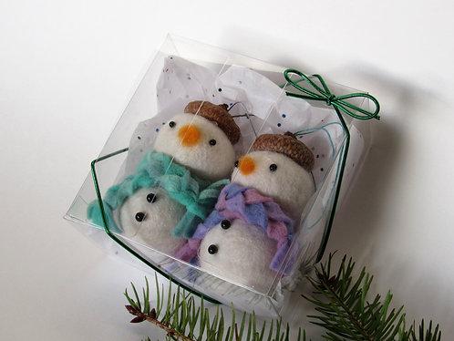Set of 2 wool felt and acorn hat snowmen ornaments