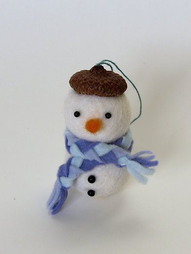 Handmade wool felt and acorn hat snowman with blue scarf