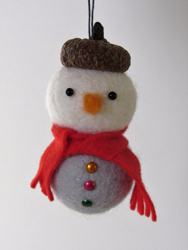 Wool felt and acorn hat snowman with red scarf ornament