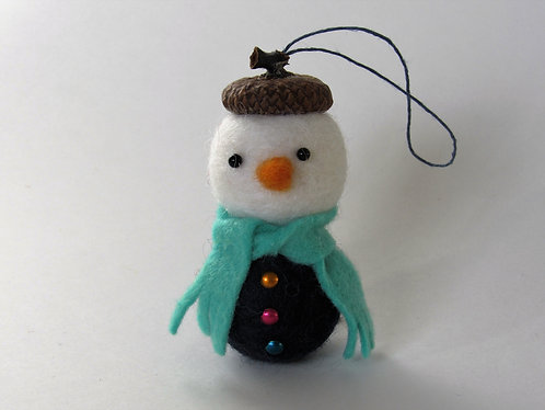 Wool felt acorn hat snowman with turquise scarf / Christmas tree ornament