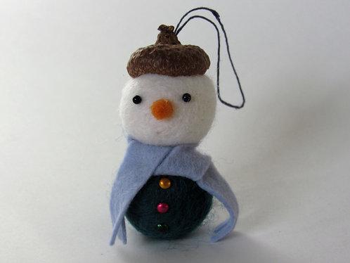 Wool felt acorn hat snowman with blue scarf ornament