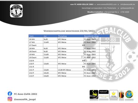 Zaterdag 23 januari jeugdwedstrijden Asse Zellik – KFC Meise