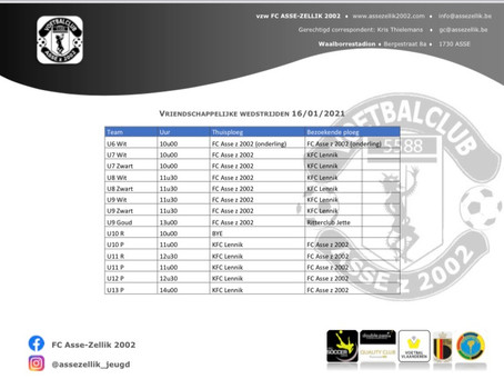 Zaterdag 16 januari vriendschappelijke wedstrijden jeugd tegen KFC Lennik