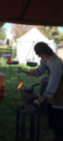 forge welding at a historic reenactment