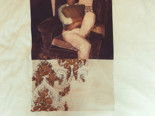 Tests combining photographic prints on muslin with embroidery.