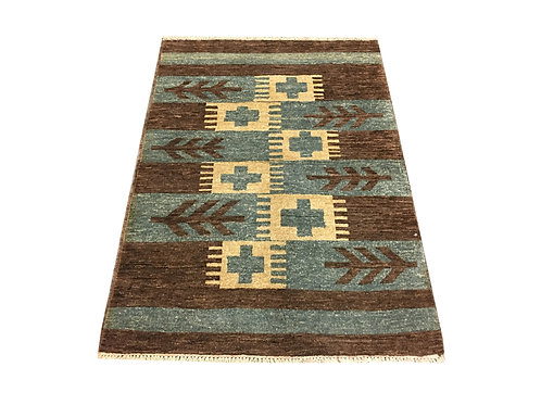 """10584 Contemporary 3' 3"""" X  4' 9"""" Wool Afg Area Rug"""