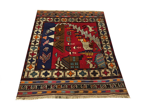 "10404 Belluchi 4' 2"" X  5' 6"" Wool Afg Area Rug"