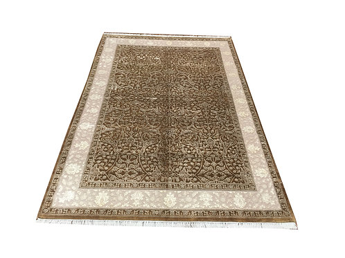 "11036 Floral 6' 3"" X  9' 6"" Wool And Artifial Silk  Area Rug"