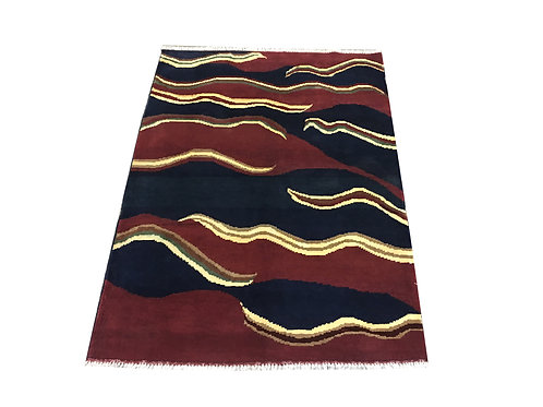 "10085 Contemporary 3' 6"" X  4'10"" Wool Afg Area Rug"