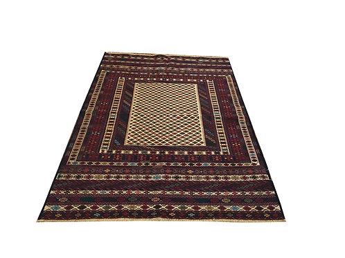 """10332 Fine Kilim 4' 2"""" X  6' 1"""" Wool Pakistani Area Rug"""