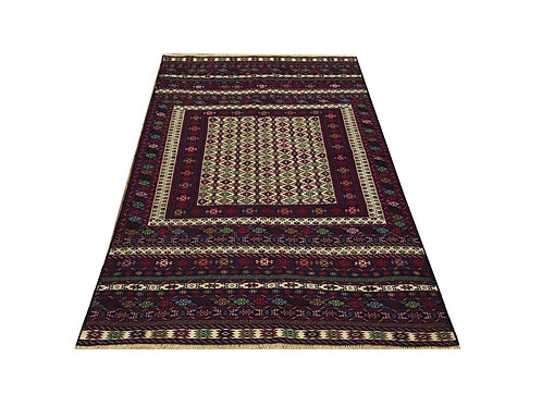 """10537 Fine Kilim 4' 0"""" X  6' 5"""" Wool Pakistani Area Rug"""