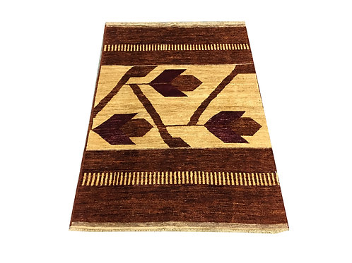 """10662 Contemporary 3' 7"""" X  5' 2"""" Wool Afg Area Rug"""