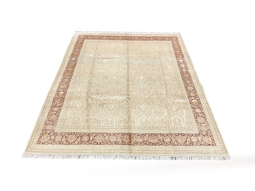 """11038 Floral 7' 8"""" X 10' 0"""" Wool And Artifial Silk  Area Rug"""