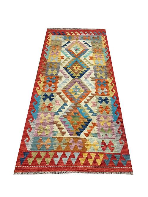 "10461 Kilim 2'11"" X  6' 8"" Wool Afg Area Rug"