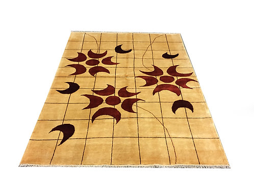 """10053 Contemporary 4'11"""" X  6' 4"""" Wool Afg Area Rug"""