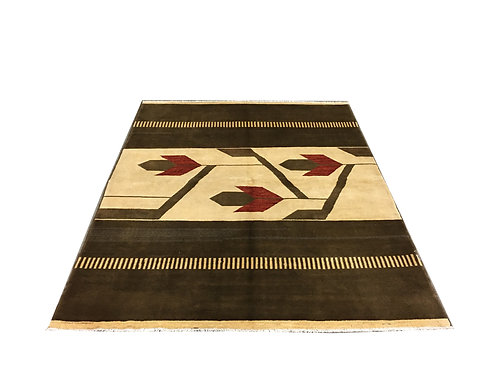 "10014 Contemporary 5' 7"" X  6'11"" Wool Afg Area Rug"
