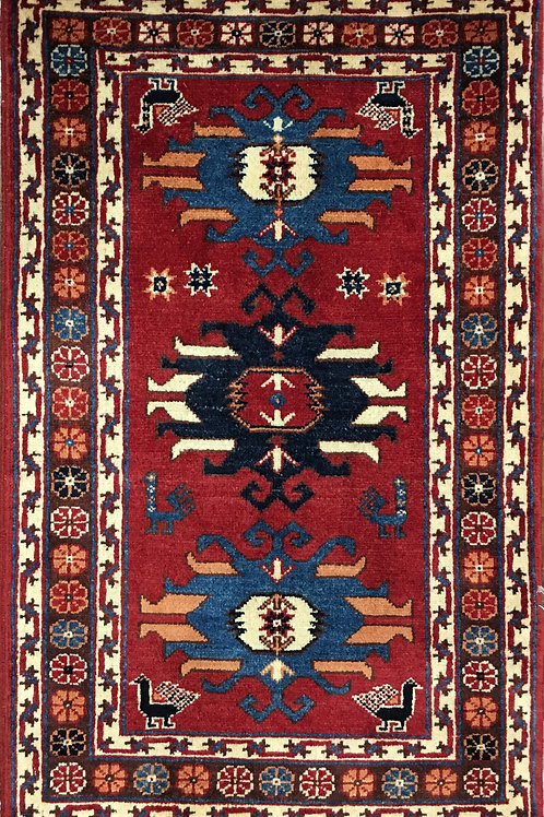 "10603 Tribal 1'11"" X  3' 2"" Wool Afg Area Rug"
