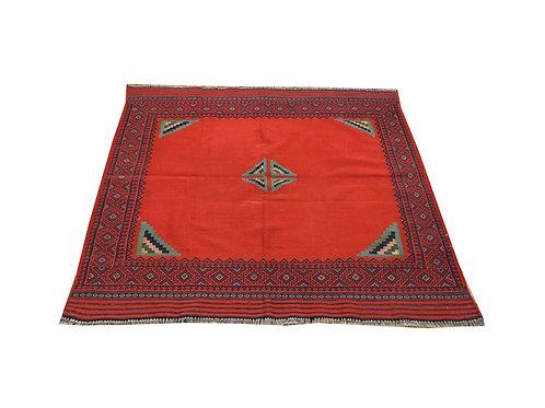 """10562 Kilim 4' 5"""" X  4' 8"""" Wool Pakistani Area Rug"""