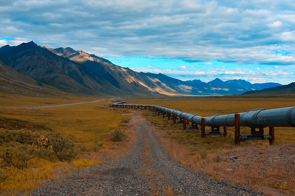 Trans-Alaskan oil pipeline in the north