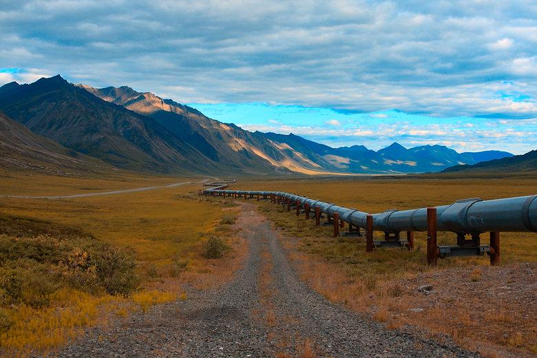 Trans-Alaskan oil pipeline in the north