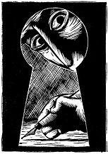 libé, libération, illustration, dessin, par la serrure