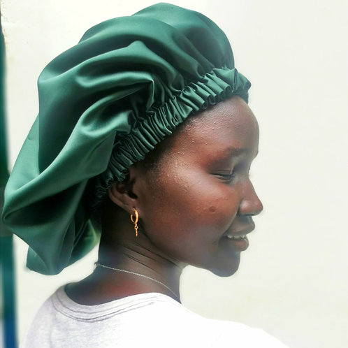 Emerald green/ black Satin hair bonnet (with adjustable head straps for comfort)