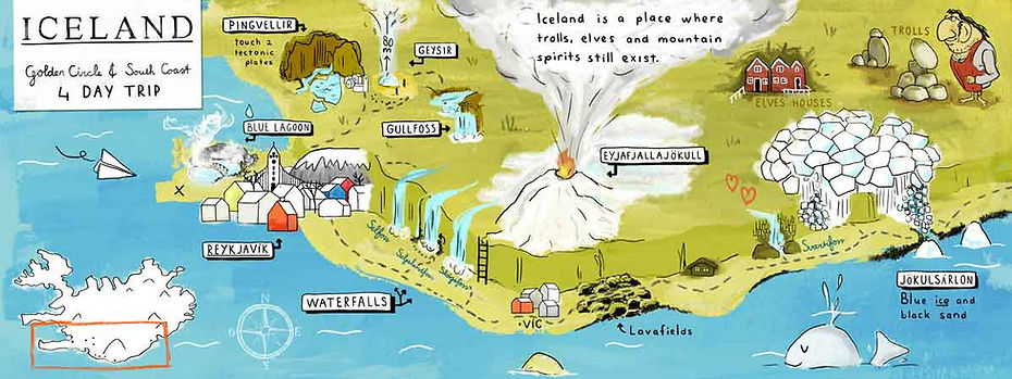Illustrated map of an Iceland Travel Itinerary