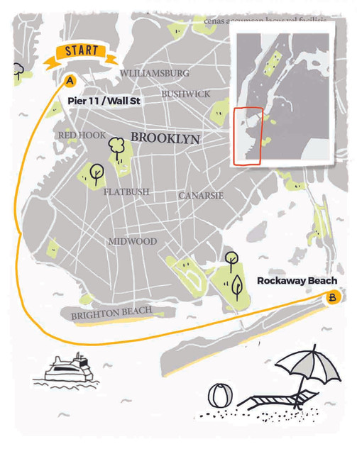 Illustrated Map for New York City Rockaway Beach