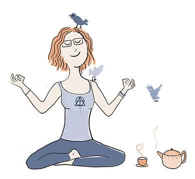 Spot Illustration doing Yoga and drinking tea - by malou zuidema