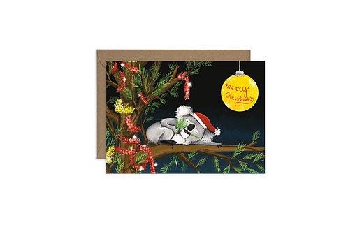 Happy Australian Christmas Cards - Sleeping Koala